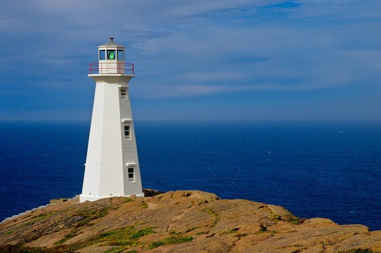 Lighthouse on Atlantic Ocean, Cape Spear, Newfoundland, Canada