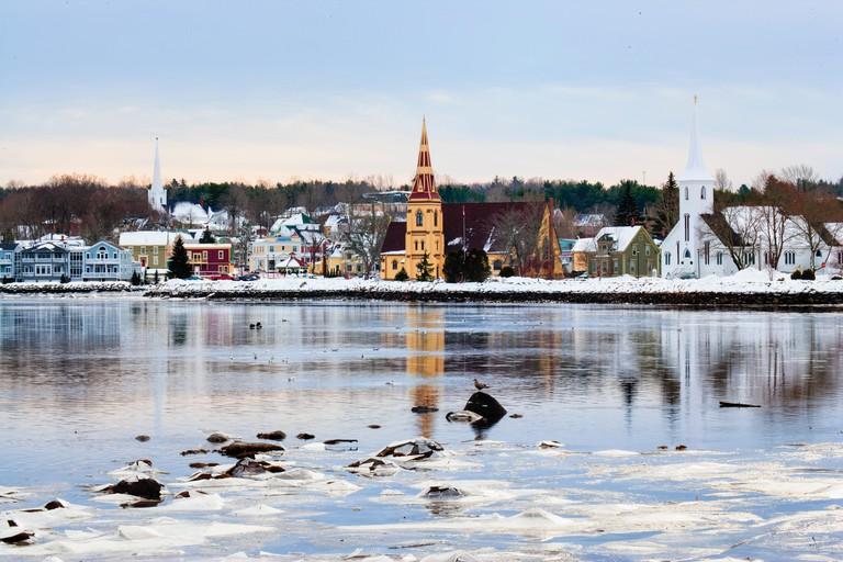 churches, town of Mahone Bay in winter, Nova Scotia, Canada
