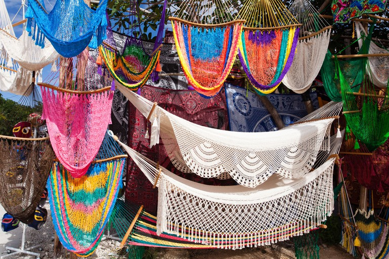 Hammocks for sale in a Tulum, Mexico market.
