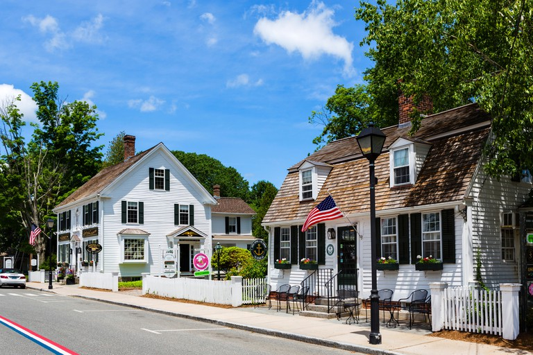 Historic old buildings on Main Street in the old town, Essex, Connecticut, USA