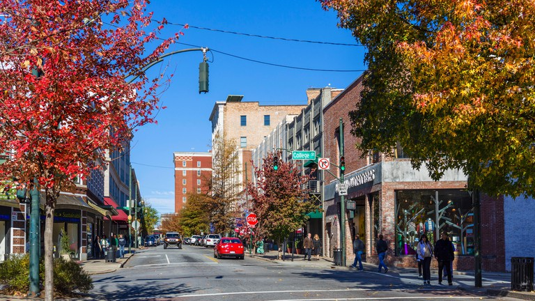 Haywood Street in downtown Asheville, North Carolina, USA