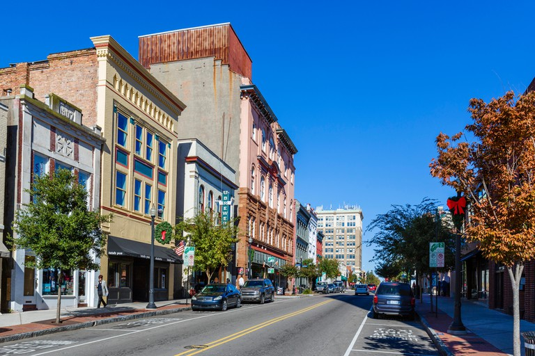 Front Street in historic downtown Wilmington, North Carolina, USA
