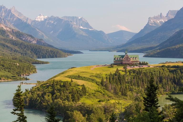Waterton Lakes National Park, Alberta, Canada, Historic Prince of Wales Hotel at Waterton Lake, Canadian Rockies