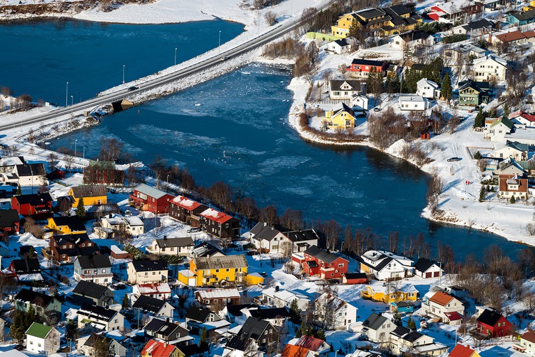 View of Tromso houses, Norway, Scandinavia, Europe