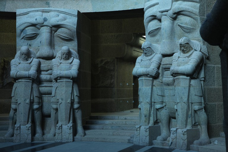 EAAXN7 Guards of the Dead by sculptor Franz Metzner in the crypt of the Monument to the Battle of the Nations in Leipzig, Germany
