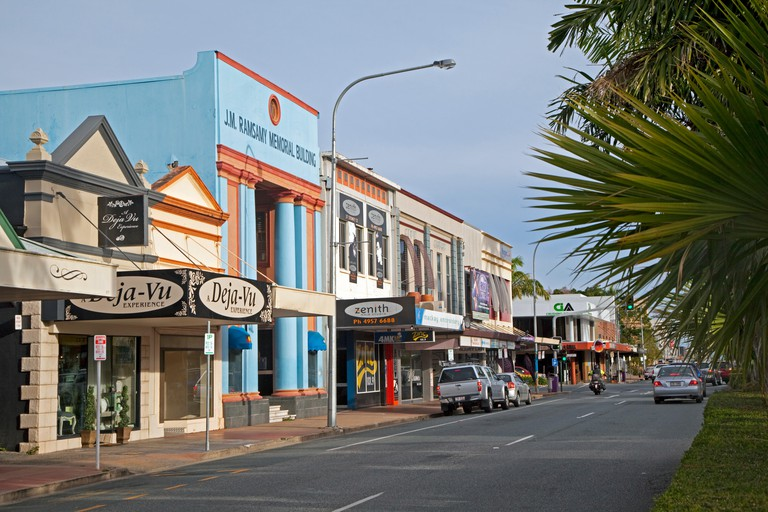 The J.M. Ramsamy Memorial Building and colorful Art Deco shops in the city Mackay, Queensland, Australia