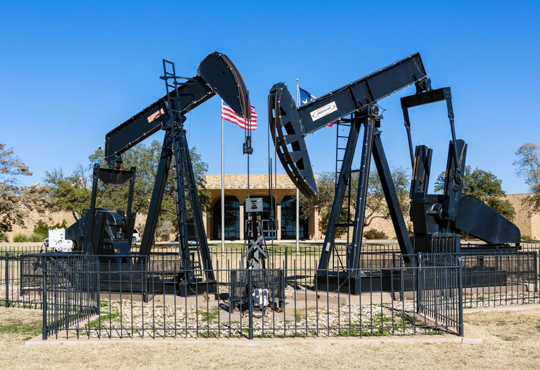 Pumpjacks in front of the Permian Basin Petroleum Museum, Midland, Texas, USA
