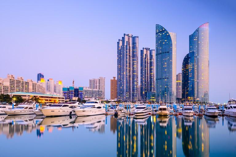 Busan, South Korea cityscape at Haeundae.