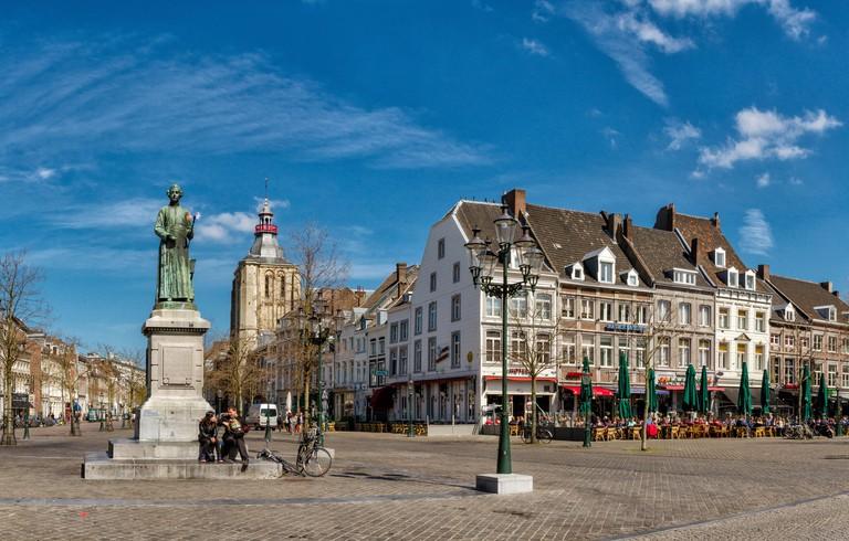Maastricht, Netherlands, Holland, Europe, city, village, spring, people, outdoor cafe, Market square