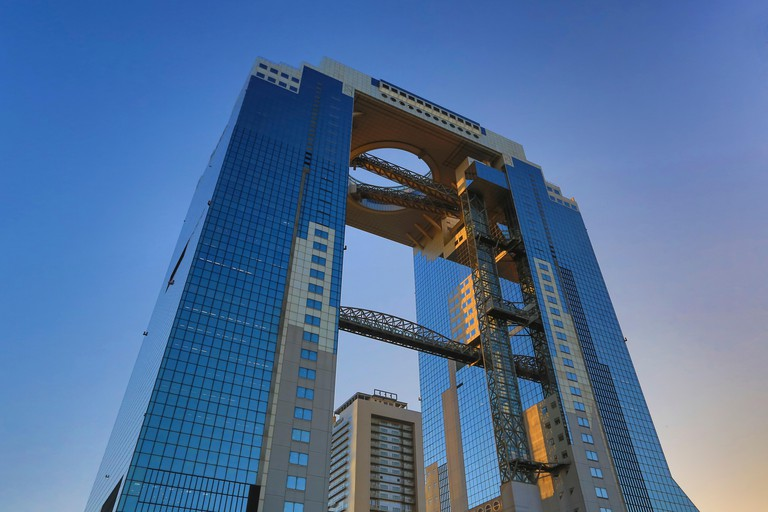 City, Japan, Asia, Kansai, Osaka, City, Sky Building, Umeda, architecture, colourful, glass, high, no people, round, skyline, sky