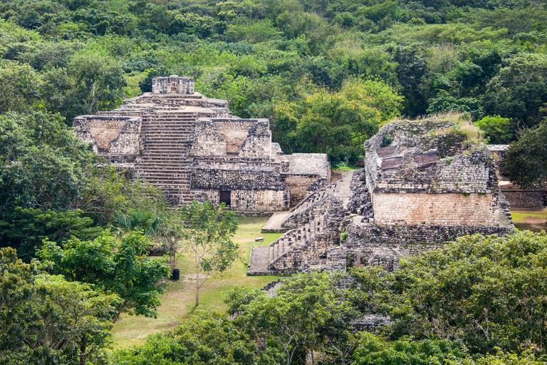 The Oval Palace as seen from atop the Acropolis at Ek Balam, Yucatan_E661NN