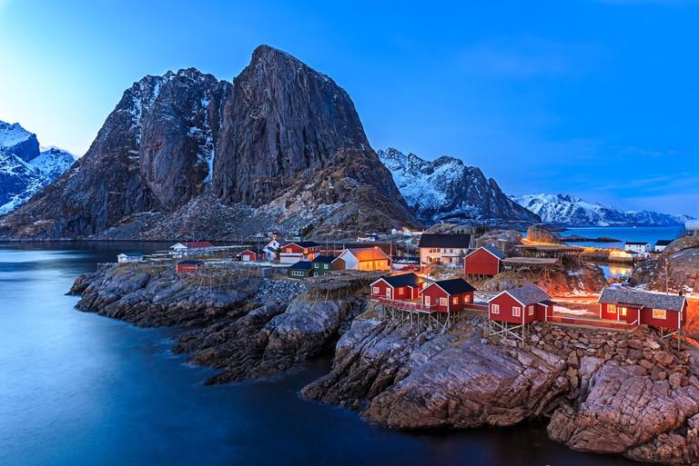 Reine fishing village in Lofoten, Norway. Image shot 03/2015. Exact date unknown.