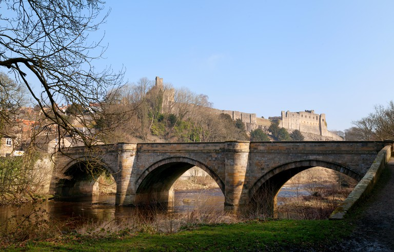 Richmond Castle, the River Swale and Green Bridge, Richmond town, North Yorkshire England UK