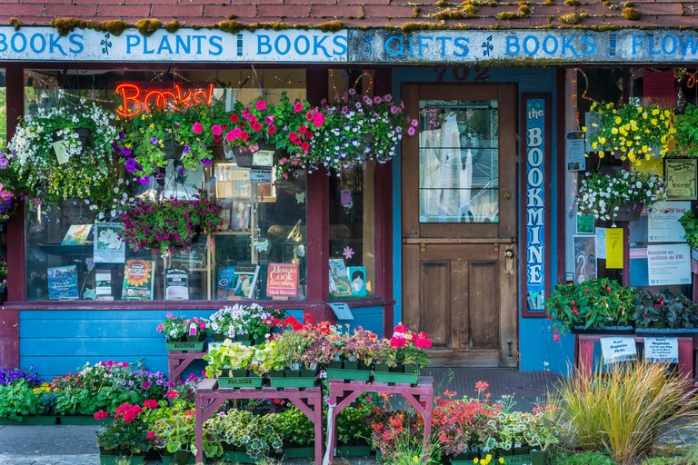 The Bookmine bookstore and plant store on Main Street in Cottage Grove, Oregon.