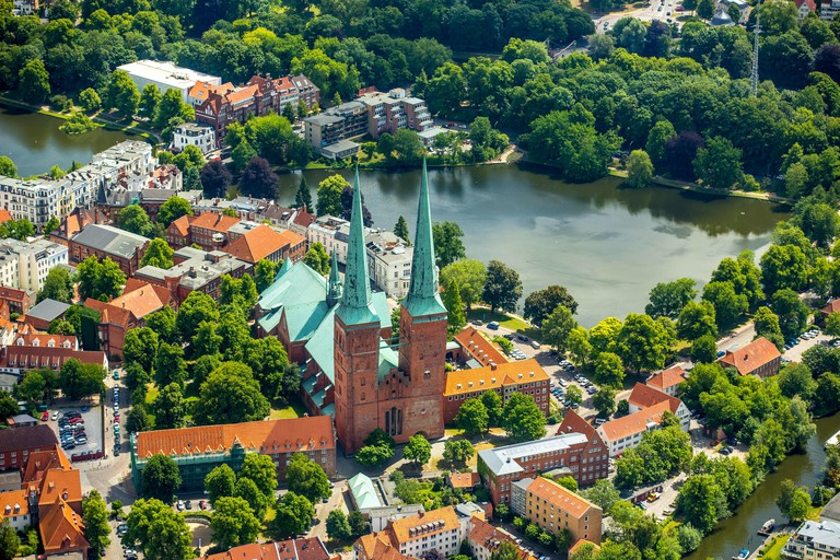 Lubeck Cathedral, Bay of Lubeck, Lubeck, Schleswig-Holstein, Germany
