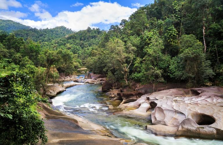 The Devil's Pool at Babinda Boulders with Babinda creek running through the granite rocks. Near Cairns, Queensland, Australia