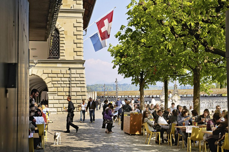 People at Town Hall Brewery, Lake Lucerne, Lucerne, Switzerland
