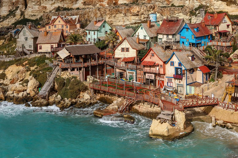 Malta, Mellieha, Anchor Bay, Popeye Village, general view of the village of Popeye used to shooting a feature film