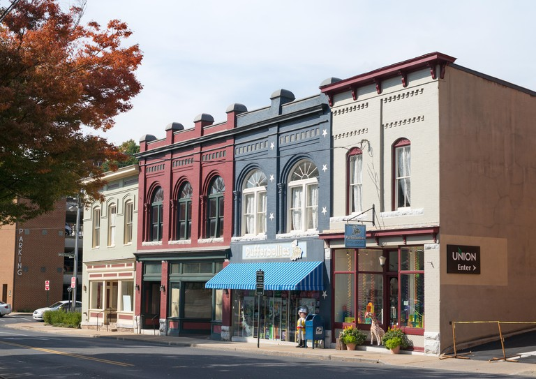 A row of old commercial buildings including Pufferbellies store, Staunton, Virginia, USA
