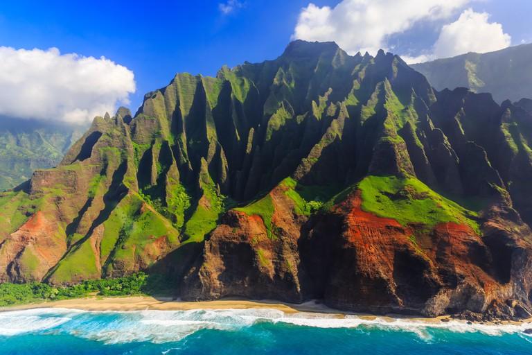 Aerial view of spectacular Na Pali coast, Kauai, Hawaii