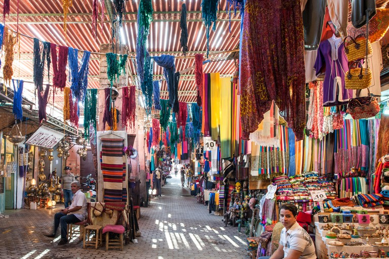The souk in Marrakech, Morocco.