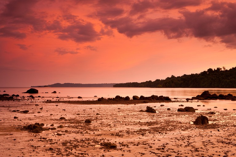 Evening skies at the northeast side of Coiba island national park, UNESCO heritage site, Pacific coast, Veraguas province, Republic of Panama.