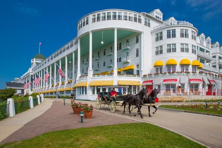 Historic Grand Hotel on resort island of Mackinac Island Michigan built in 1886-87