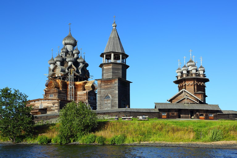 russian wooden architecture on Kizhi island. Image shot 09/2015. Exact date unknown.