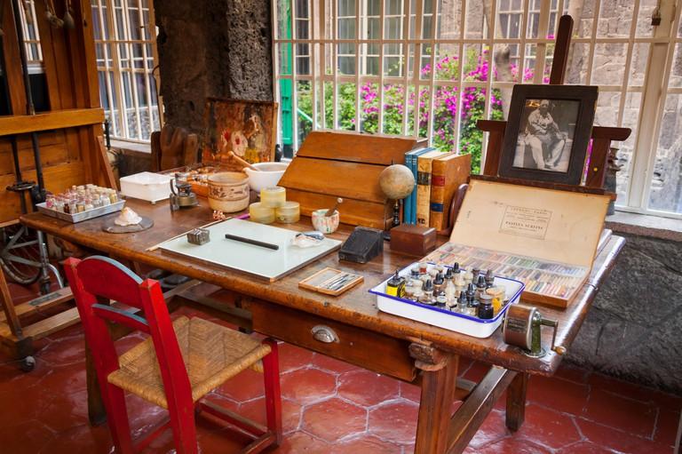 Studio, Frida Kahlo Museum (aka The Blue House, La Casa Azul), Coyoacan, Mexico City, Mexico DF, Mexico