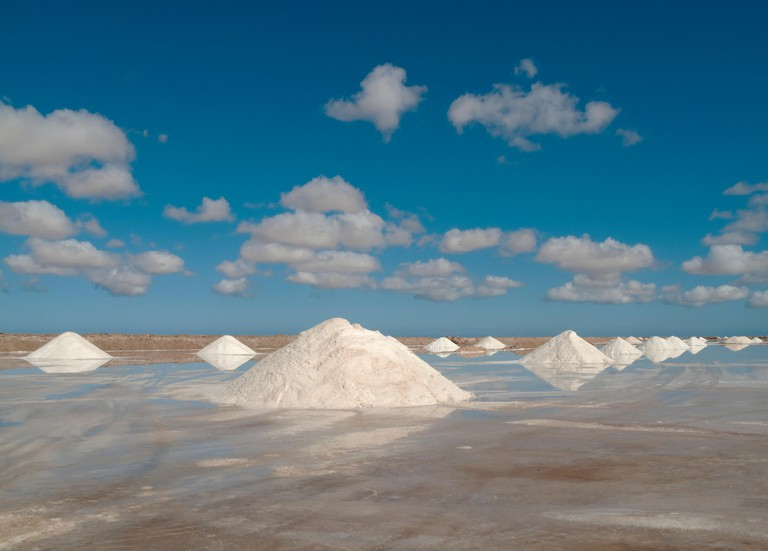 Salt works at the salt marshes of Sabkhat Tazra in the Khenifiss National Park near the coast of the Atlantic Ocean east of