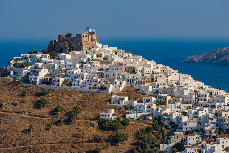 Querini castle and Chora view in Astypalaia island Greece