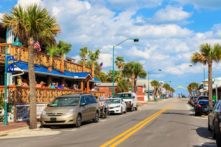 Main street and cafes in New Smyrna Beach, Florida, USA