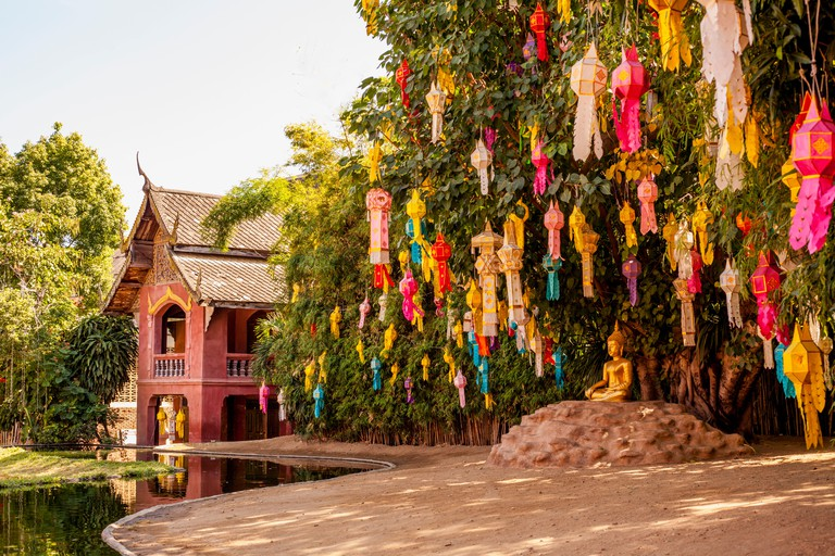 Wat  Phan Tao temple coloured  lanterns