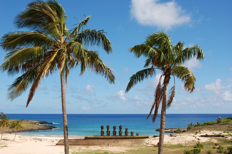 Easter Island - Anakena Beach. Image shot 05/2009. Exact date unknown.