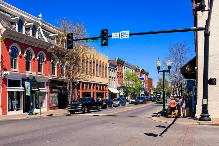 Stores on main street in downtown Franklin, Tennessee, some 21 miles from Nashville