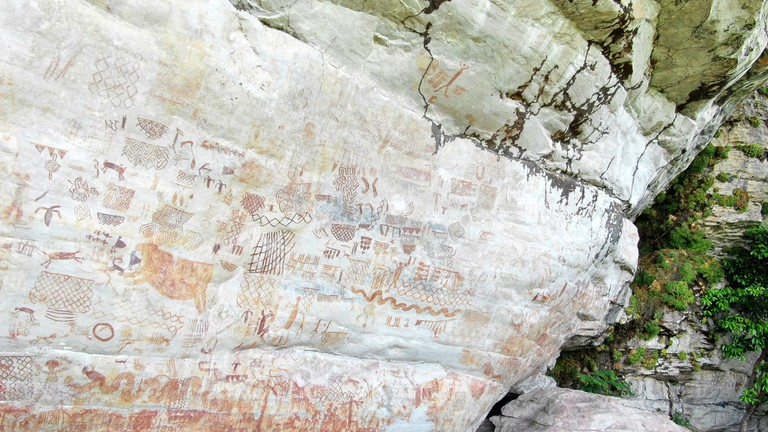 Detail of the cave paintings of Nuevo Tolima, Colombia