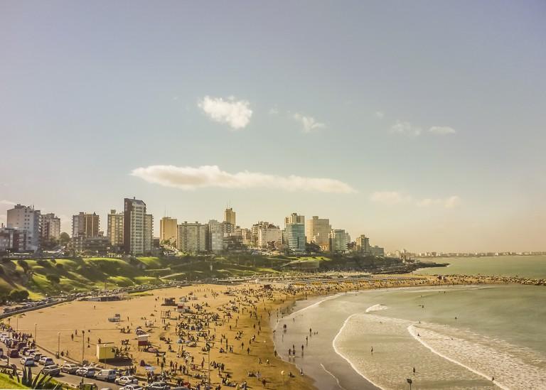 Crowded Beach Aerial View in Mar del Plata