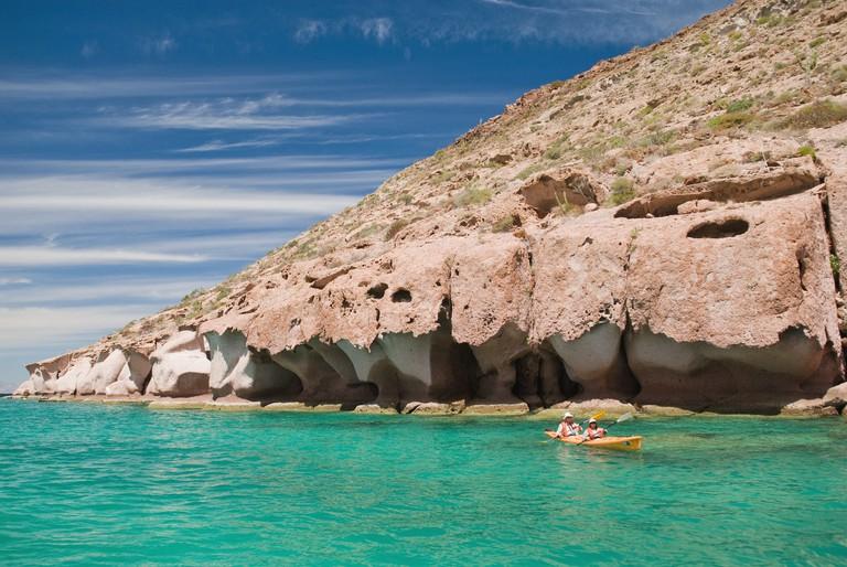 Kayakers in Ensenada Grande Bay