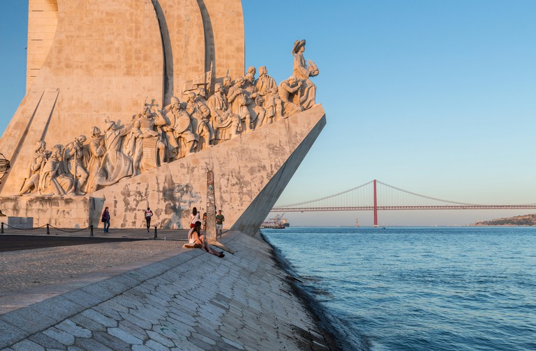 Sunset on the Padrao dos Descobrimentos (Monument to the Discoveries) by the Tagus River, Belem, Lisbon, Portugal, Europe