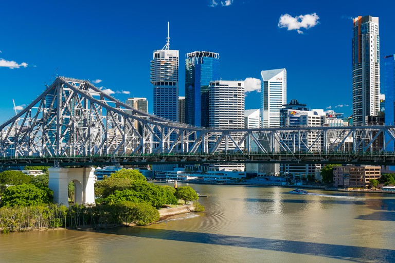 BRISBANE, AUS - JUN 7 2016: Panoramic view of Brisbane Skyline with Story Bridge and the river. It is Australias third largest c