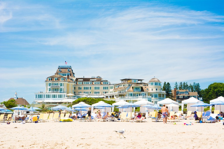 The Ocean House Hotel sits atop Watch Hill Beach in Westerly, Rhode Island, USA