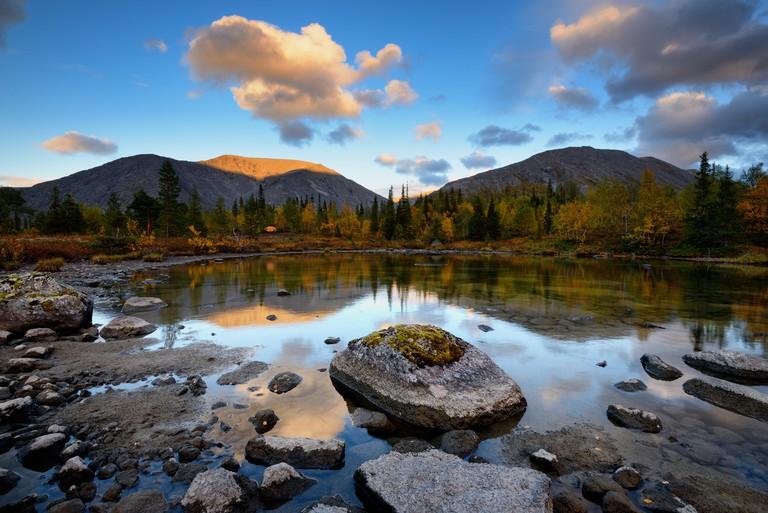 Landscape at Polygonal Lakes, Khibiny mountains, Kola Peninsula, Russia