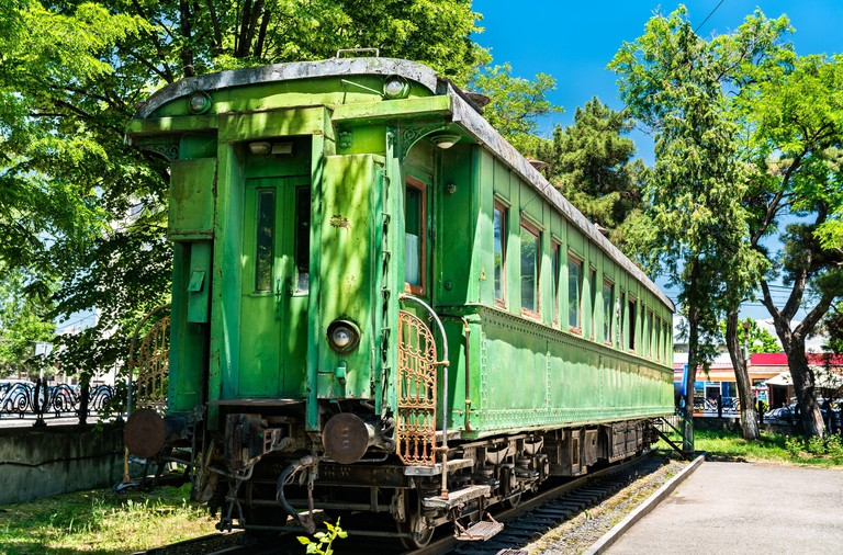 Personal green railroad car of Joseph Stalin in his birthplace Gori, Georgia