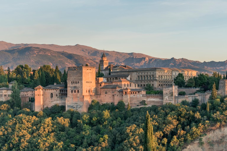 View of the Alhambra from the Mirador de San Nicolas, Granada, Spain KWK972