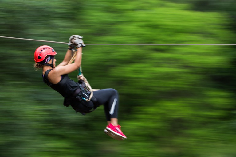 person on a zip line