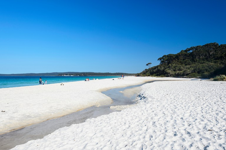 The famous white sands of Hyams Beach in picturesque Jervis Bay with its turquoise waters, New South Wales, NSW, Australia
