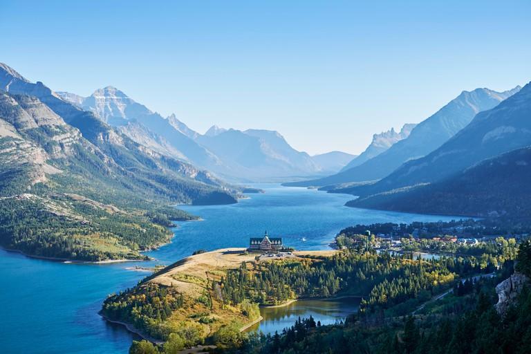 High view of Waterton Lakes National Park, Alberta, Canada