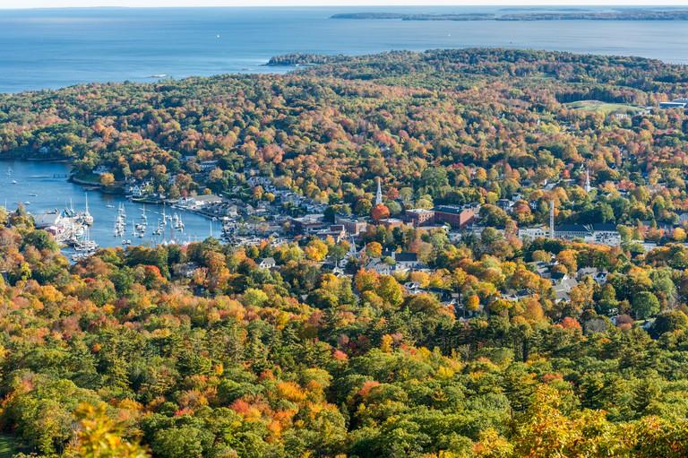 Landscape of Camden Hills State Park in Camden, Maine in autumn.