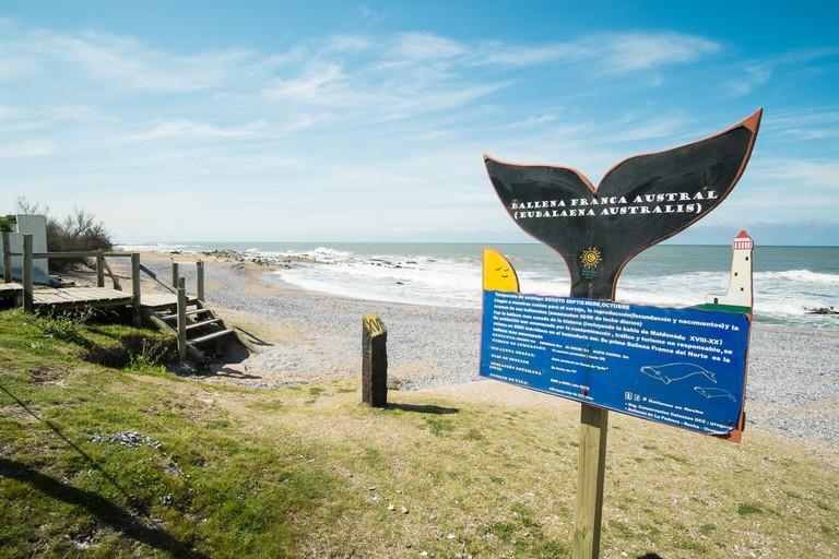 LA PALOMA; URUGUAY - SEPTEMBER 8, 2015:  Signpost marking a whalewatching point in La Paloma, Uruguay.