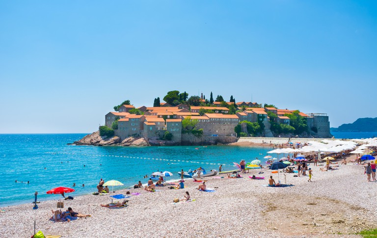 The public beach located next to the islet with luxury hotel complex, Sveti Stefan Montenegro